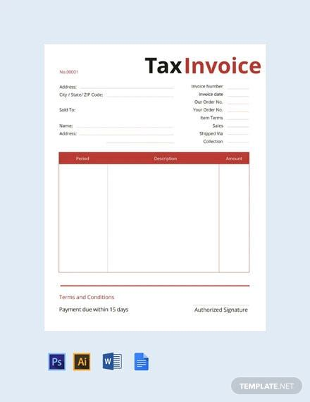 Commercial Tax Invoice Template Free Pdf Word Psd Google Docs Illustrator Invoice Template Invoice Design Template Invoice Template Word