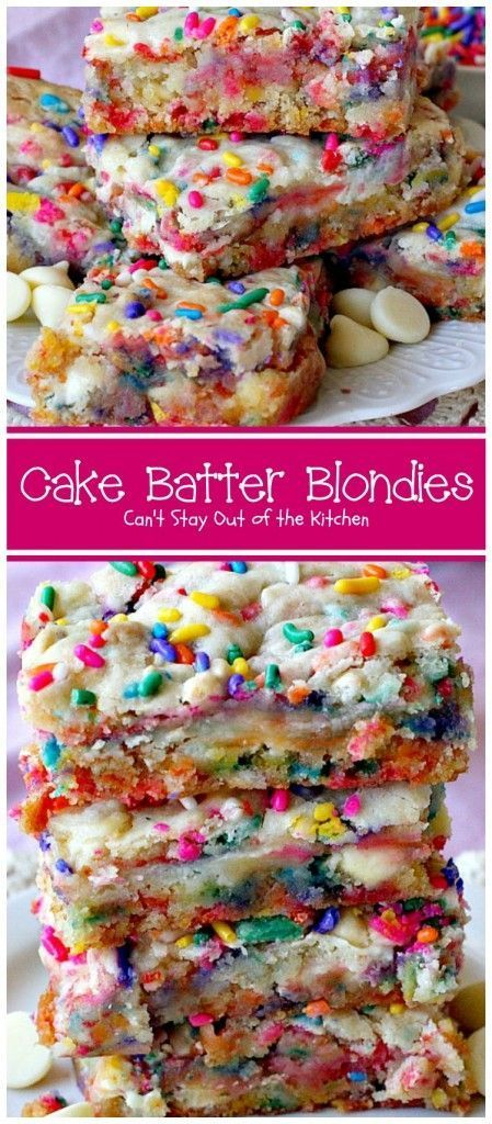 Cake Batter Blondies start with a boxed cake mix, sprinkles and either white cho. - Cake Batter Blondies start with a boxed cake mix, sprinkles and either white chocolate or vanilla c - Desserts Nutella, Just Desserts, Delicious Desserts, Yummy Food, Vanilla Desserts, Desserts For Birthdays, Chocolate Desserts, Fun Deserts To Make, Healthy Birthday Desserts