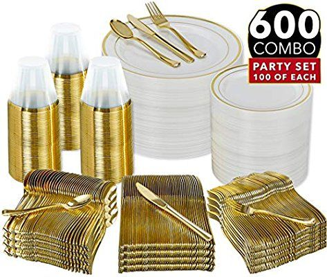 Amazon Com 600 Piece Gold Dinnerware Party Set 100 Guest 100 Dinner Plastic Plates 100 Salad In 2020 Gold Plastic Silverware Gold Dinnerware Plastic Silverware