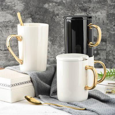 Amazon Best Sale Blank Sublimation Gold Ceramic Mug With Spoon Lid Mugs Coffee Mugs Couple Mugs