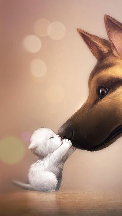 Cute small cat and  dog drawing     Dogs    dogs d #baby_animals_funny #Cat #cute #dog #Dogs #Drawing #Drawings #small