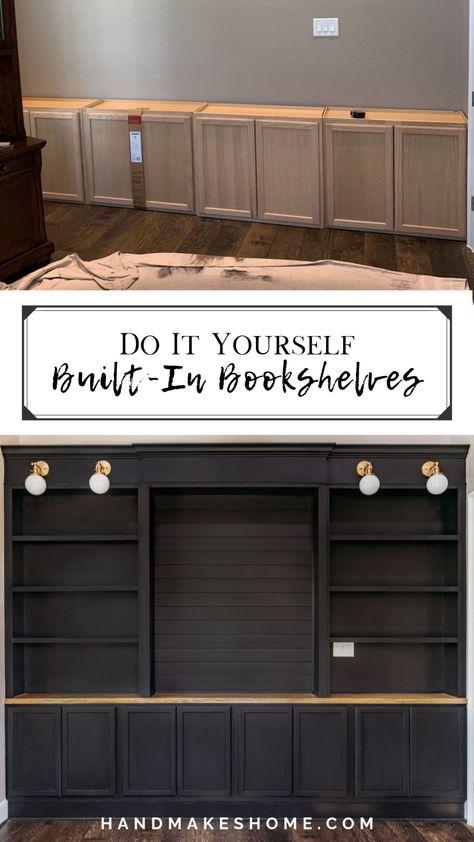 Basement Remodeling, Bookshelves Built In, Home Projects, Home, Home Office Design, House, Bookshelves Diy, New Homes, Home Remodeling