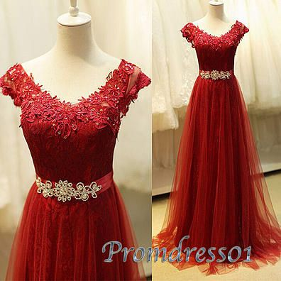 Long prom dress for teens, 2016 red lace junior prom dress with sleeves #coniefox