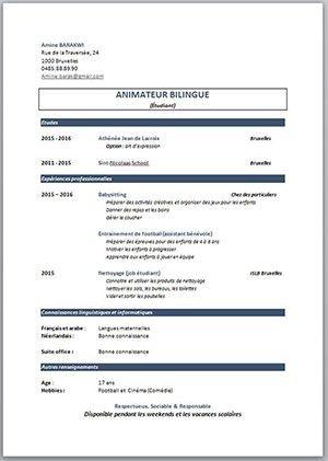 Modele De Cv Pour Etudiant Cv Job Etudiant Exemple Cv Curriculum