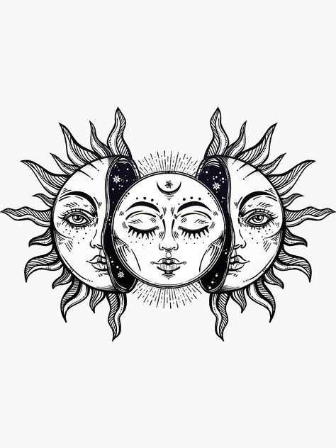 'Vintage Solar Eclipse Sun and Moon' Sticker by MagneticMama – Tattoo Sketches & Tattoo Drawings Sun And Moon Drawings, Sun Drawing, Drawing Art, Drawing Ideas, Art Drawings Sketches, Tattoo Sketches, Tattoo Drawings, Tattoo Outline Drawing, Sun And Moon Tapestry