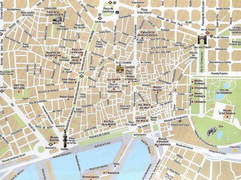 Mapa Do Centro De Barcelona Mapa Turistico Mapa Turistico