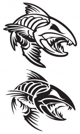 Esqueleto De Pescado Ilustracion De Stock En 2020 Pez Koi Dibujo Ilustracion Vectorial Arte De Peces