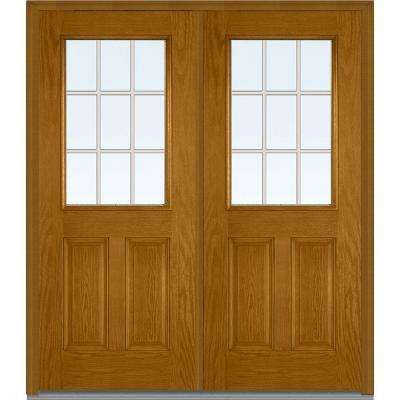 72 In X 80 In Tan Internal Grilles Left Hand Inswing 1 2 Lite Clear 2 Panel Stained Fiberglass Oak Prehung Front Door Mmi Door Front Door Prehung Doors