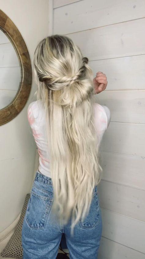Boho half up hairstyle