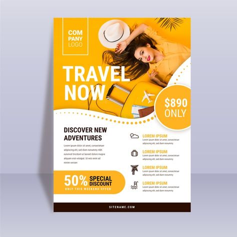 Abstract Travelling Poster Template With Photo