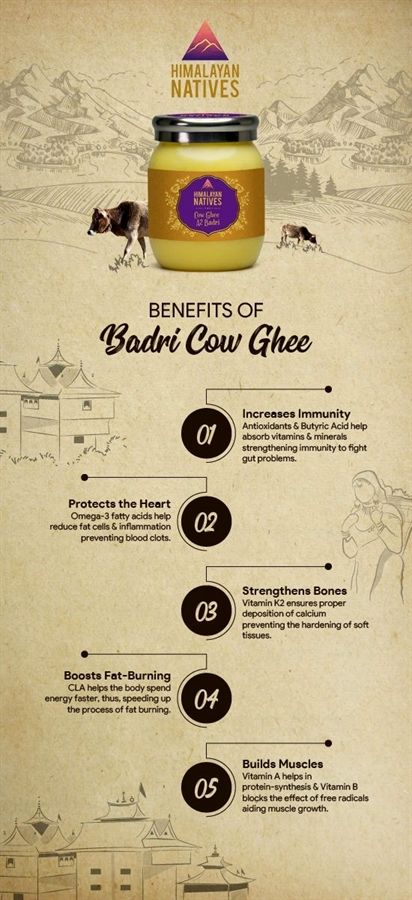 Benefits Of Badri Cow Ghee Himalayan Natives Cow Ghee Ghee Vitamins And Minerals