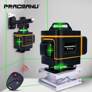 Pracmanu 16 Lines 4d Green Laser Level Horizontal And Vertical Cross Lines With Auto Self Leveling Indoors And Outdoors Green Laser Laser Levels Laser