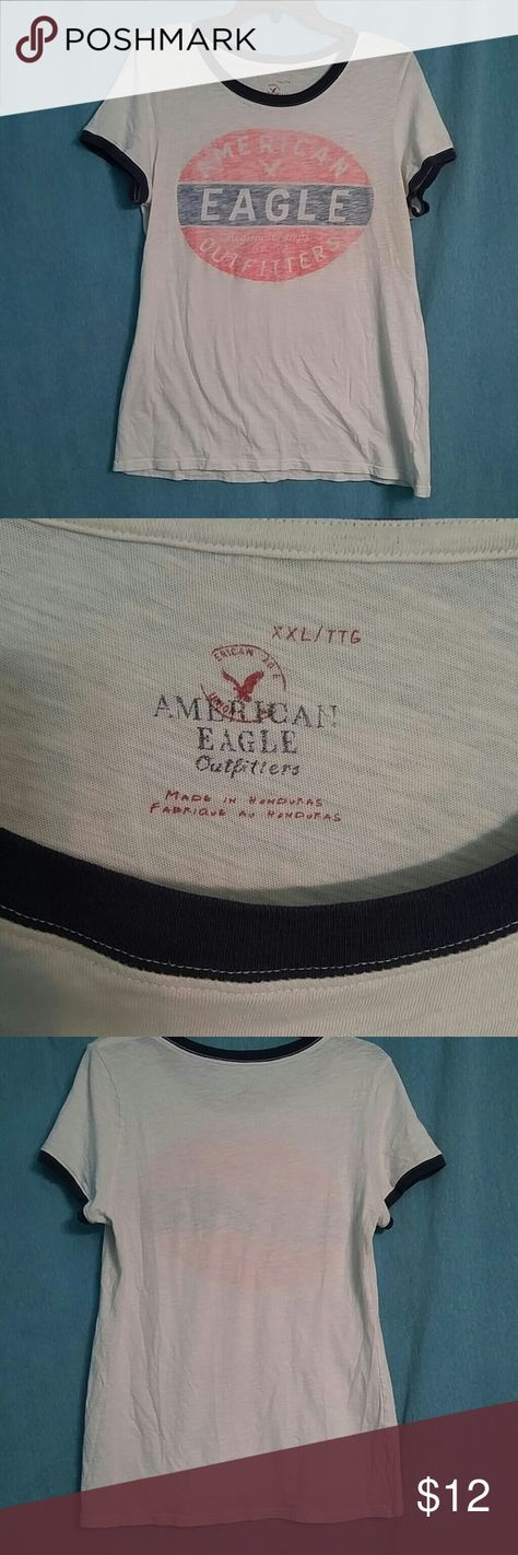 American Eagle t-shirt XXL Very cute retro style American Eagle t-shirt size XXL white with orange and blue logo. New without stains only worn a few times 🚫 please no low-ball offers and no trades thank you. Do you watch for my sales I have Weekend sales and drop prices bundle to save money American Eagle Outfitters Tops Tees - Short Sleeve