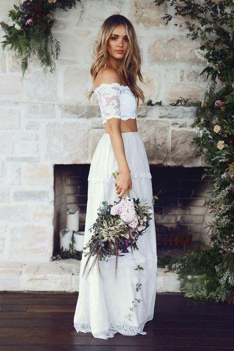 vestido blanco ibicenco, vestido de novia de dos piezas, corset con