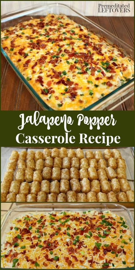 The Original Jalapeno Popper Casserole Recipe! It is made with jalapenos, cream cheese, bacon, tater tots, and cheese. This Jalapeno Popper Tater Tot Casserole is always a hit at parties and potlucks! Mexican Food Recipes, New Recipes, Favorite Recipes, Recipies, Mexican Food Appetizers, Carrot Recipes, Broccoli Recipes, Tofu Recipes, Milk Recipes