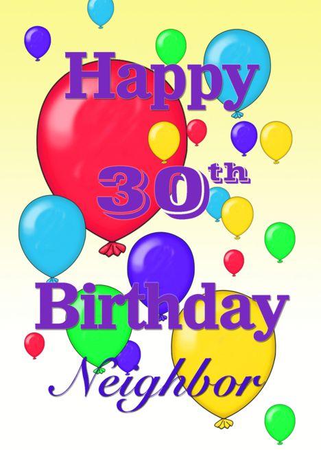 Happy 30th Birthday Neighbor Balloons Card Ad Sponsored Birthday Happy Card Balloons Happy 30th Birthday Happy 8th Birthday Happy 11th Birthday