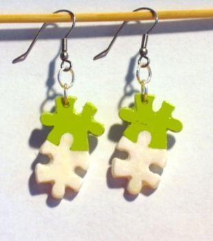 Ohrringe Puzzle Modeschmuck hellgrün handgefertigt aus Fimo Damen Hänger Edelstahl Ohrschmuck Neuware
