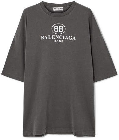 2b10e38d0fc6 Balenciaga - Oversized Printed Cotton-jersey T-shirt - Anthracite ...