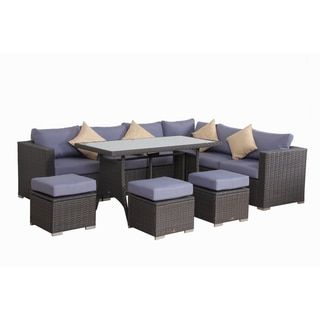 Phenomenal Broyerk Blue Grey Rattan 10 Piece Patio Furniture Set Blue Uwap Interior Chair Design Uwaporg