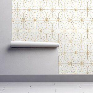 Ivy Bronx Lofton Geometric Removable Peel And Stick Wallpaper Panel Wayfair In 2020 Gold Wallpaper White And Gold Wallpaper Peel And Stick Wallpaper