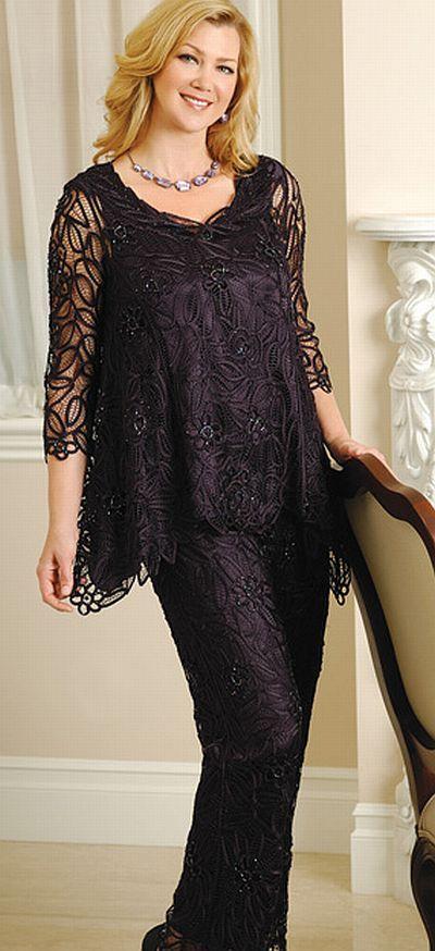 Soulmates D8597 Crochet Beaded Silk 2 Pc Formal Dress Missy Plus