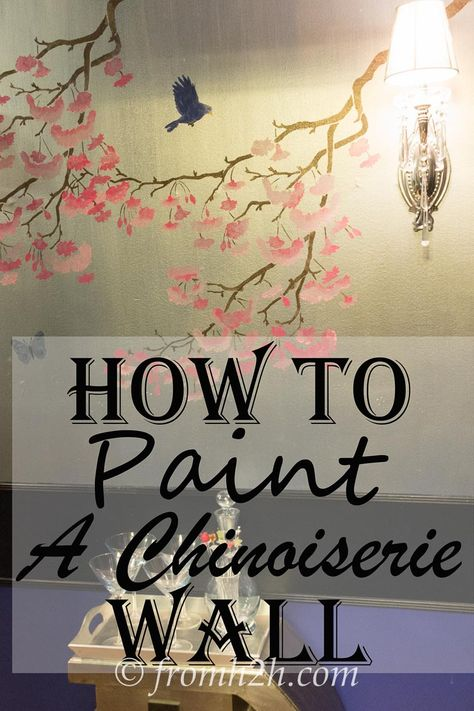 Like the look of Chinoiserie Wallpaper but not the cost?  Click here for DIY Chinoiserie wall instructions using paint and a stencil. | How to paint a Chinoiserie Wall