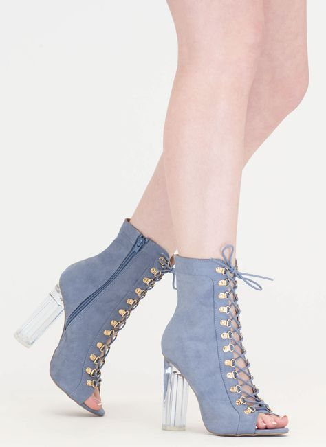 Cylinder Chic Chunky Lucite Booties NUDE TAUPE BLACK BLUE