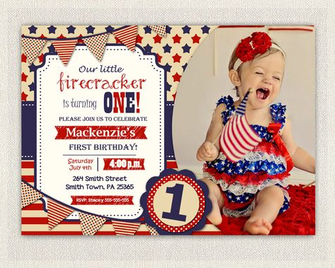 4th July First Birthday Invitation Girl Boy Invite gender neutral fourth of July patriot red white a
