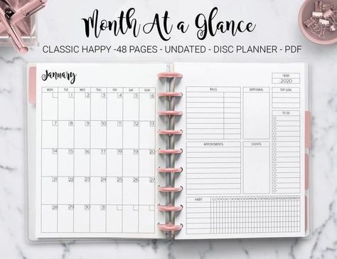 Month at a Glance Monthly Planner Undated Monthly Layout Agenda Mambi Classic Erin Condren Happy Pla