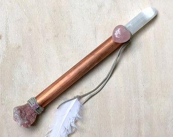 Seleniet, rhodochrosiet, Rose Quartz, roze toermalijn, koper sjamanistische helende Wand genezing zwaard van licht, energie genezing, Toverstaf