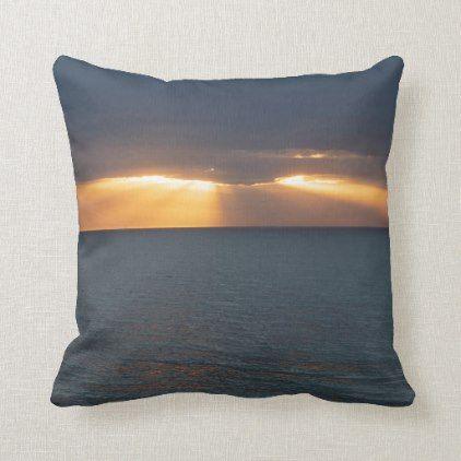 Golden Sunset Rays Over The Ocean With Reflections Throw Pillow Zazzle Com Throw Pillows Pillows Custom Pillows