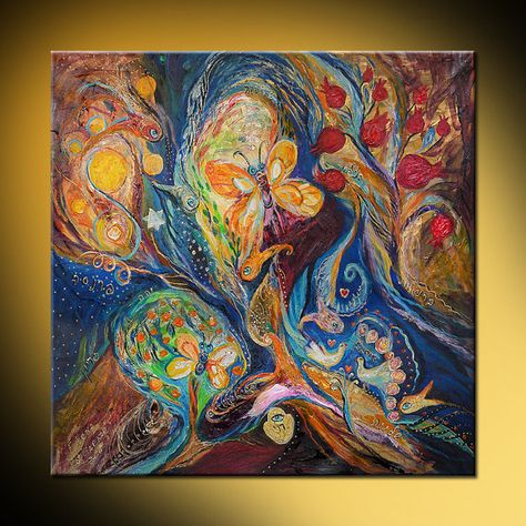 Longing for Chagall original modern judaica by LenaKotliarker, $350.00
