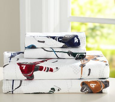 Lodge Ice Hockey Flannel Sheet Set  Pottery Barn Kids  House O