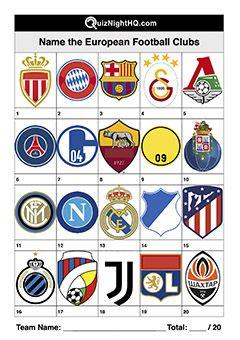 Name These European Football Club Logos Logo Quiz Disney Character Trivia European Football