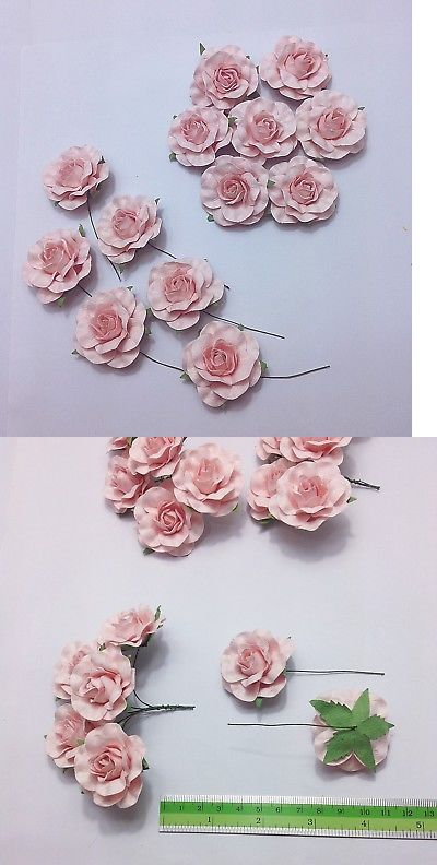 Flower Embellishments 160734 Light Pink Mulberry Paper Roses 3 5