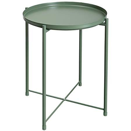 Amazon Com Hollyhome Tray Metal End Table Sofa Table Small Round Side Tables Anti Rust And Waterpro Small Round Side Table Metal End Tables Round Side Table