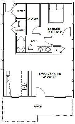 24x32 House 1 Bedroom 1 Bath Pdf Floor Plan 768 Sq Ft Model 1e Tiny House Plans One Bedroom House Tiny House Floor Plans