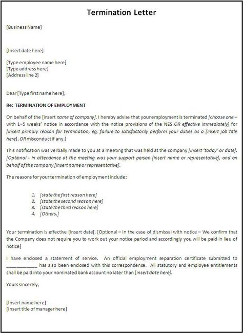 Termination Letter Template Letter Templates Free Letter Format