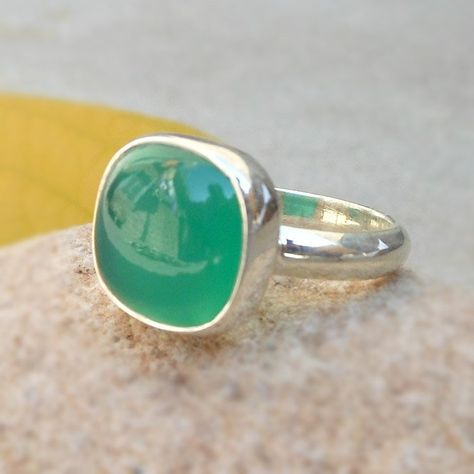 Sterling Silver Green Onyx Ring Bezel Ring Gemstone rings Green onyx cushion ring Green Rings Spring Jewelry Gift Rings Sz 4 5 6 7 8 9 10 11
