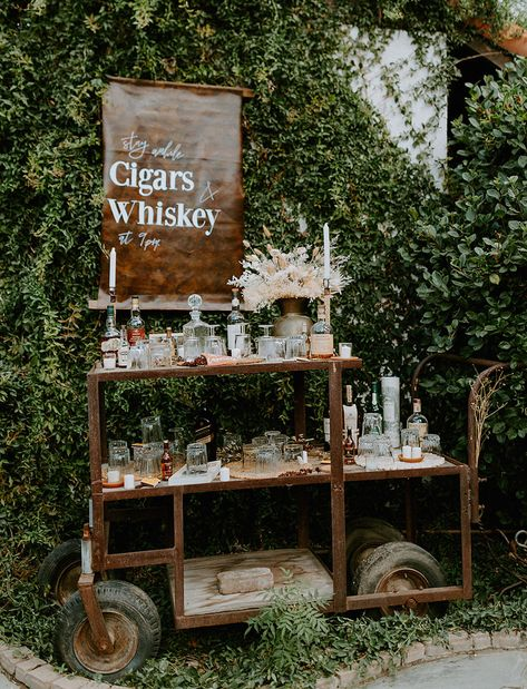 whiskey bar- This backyard wedding combined European Flair and Western Aesthetic with Spanish tiles, antique dinnerware, a fringe wedding veil, and bolero ties. This is the ultimate in modern wedding style! Wedding Ceremony, Wedding Day, Wedding Veil, Green Wedding, Rustic Wedding Bar, Wedding Dresses, Western Wedding Ideas, Table Wedding, Backyard Wedding Receptions