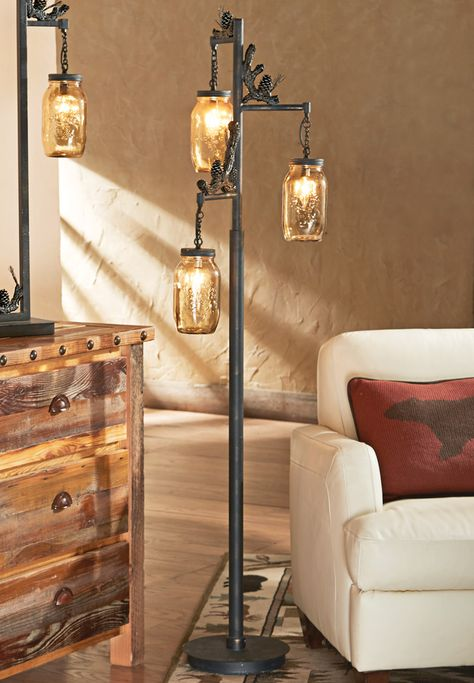 Firefly Forest Floor Lamp | Rustic floor lamps, Wood floor