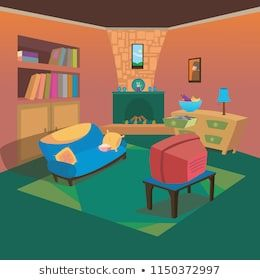 Clean Tv Living Room At Home With Cartoon Style Background For Children Vector Ilustration Concept Ideas Living Room Tv Cartoon Styles Cartoon
