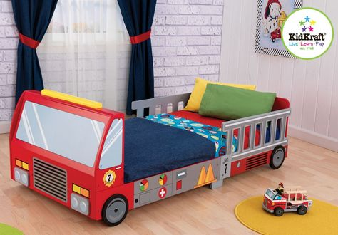 Cute Fire Truck Toddler Cot