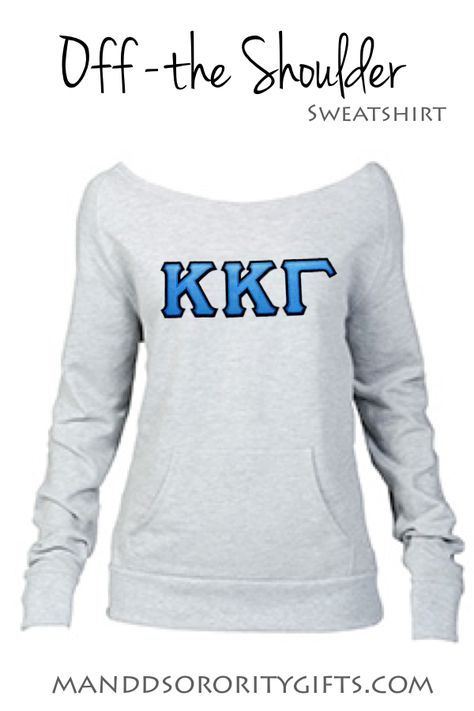 Kappa Kappa Gamma Sweatshirt. Add a new style of Sorority Sweatshirt to your closet this year with our Greek Off the Shoulder Sweatshirt with stitched Two Layer Greek Twill Letters.  $39.98