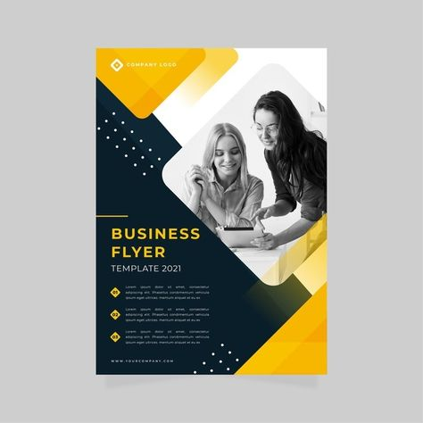 Business Flyer Print Template With Women