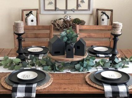 Farmhouse Table Decor Black 19 New Ideas Farmhouse Dining Room Table Farmhouse Style Dining Room Farmhouse Table Setting