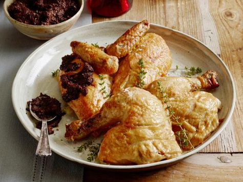 Get Whole Roasted Chicken with Homemade Tapenade Recipe from Food Network