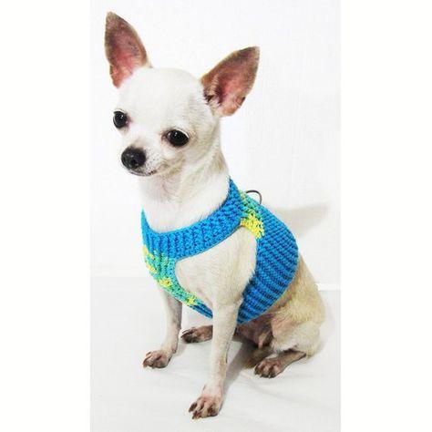 Choke Free Soft Dog Harness Cotton Dog Harness Hand Crochet Pet