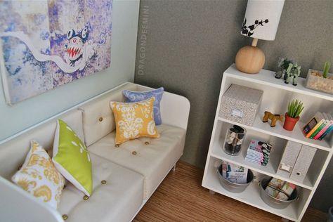 Weiyiroty Divano per Casa delle Bambole #1 Divano Singolo in Miniatura Divano Poltrona con Cuscino per 1:12 Dolls Accessori per Case delle Bambole Fai-da-Te Arredamento per la Casa delle Bambole