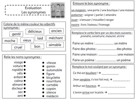 Evaluation Sur Les Synonymes Devoir Evaluation Ecole De
